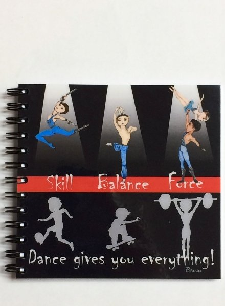 "Ballet Papier Ballet Boys ""Skill, Balance, Force"" Square Spiral Notebook"