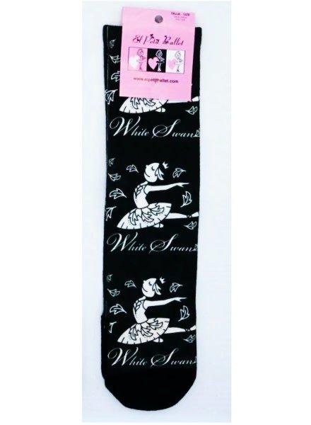 El Petit Ballet Calce Calf-length Socks White Swan