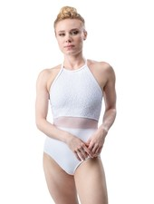 Só Dança Cross Back Mesh Waist Halter Leotard