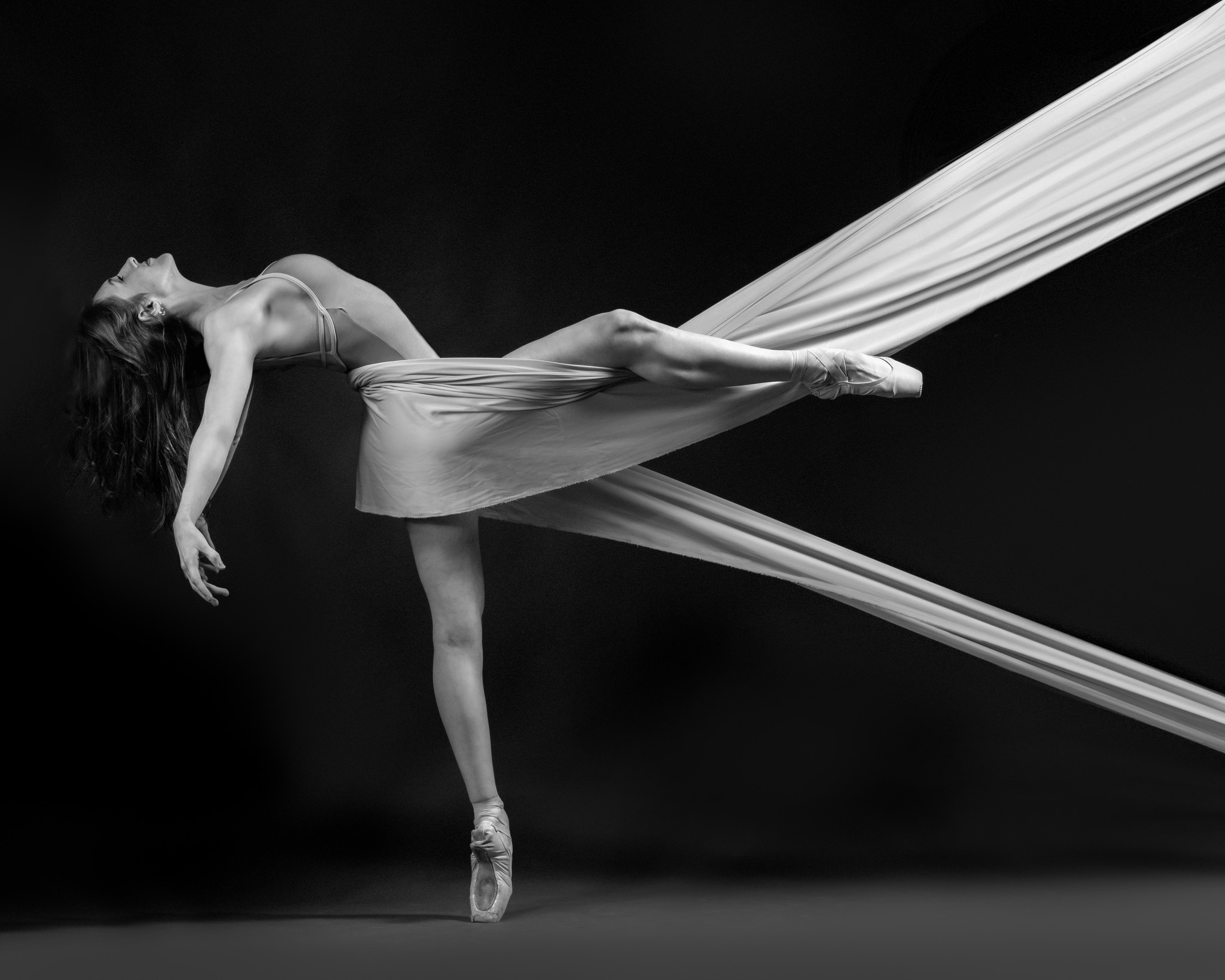 Dancer with fabric