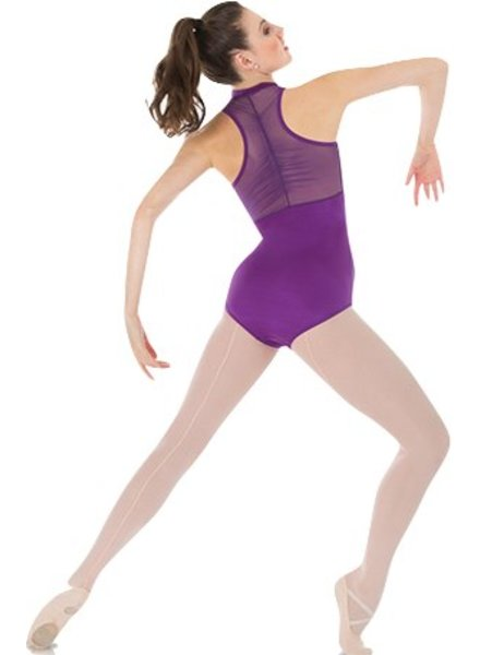 Body Wrappers Power Mesh Zip Front Leotard