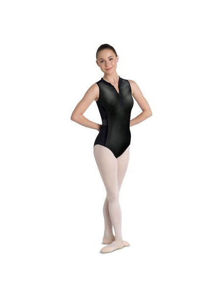 Danshūz Zip-Up Scuba Leotard with Criss Cross
