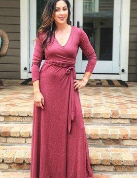 Elan Deep Wine Wrap Dress