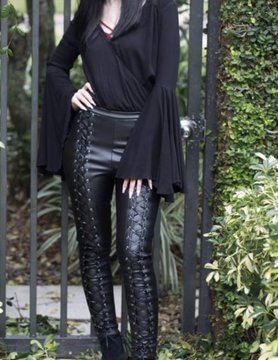 Faux Leather Tie Up Leggings