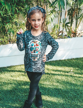 Clothing of America Girls Sequins Skull Top