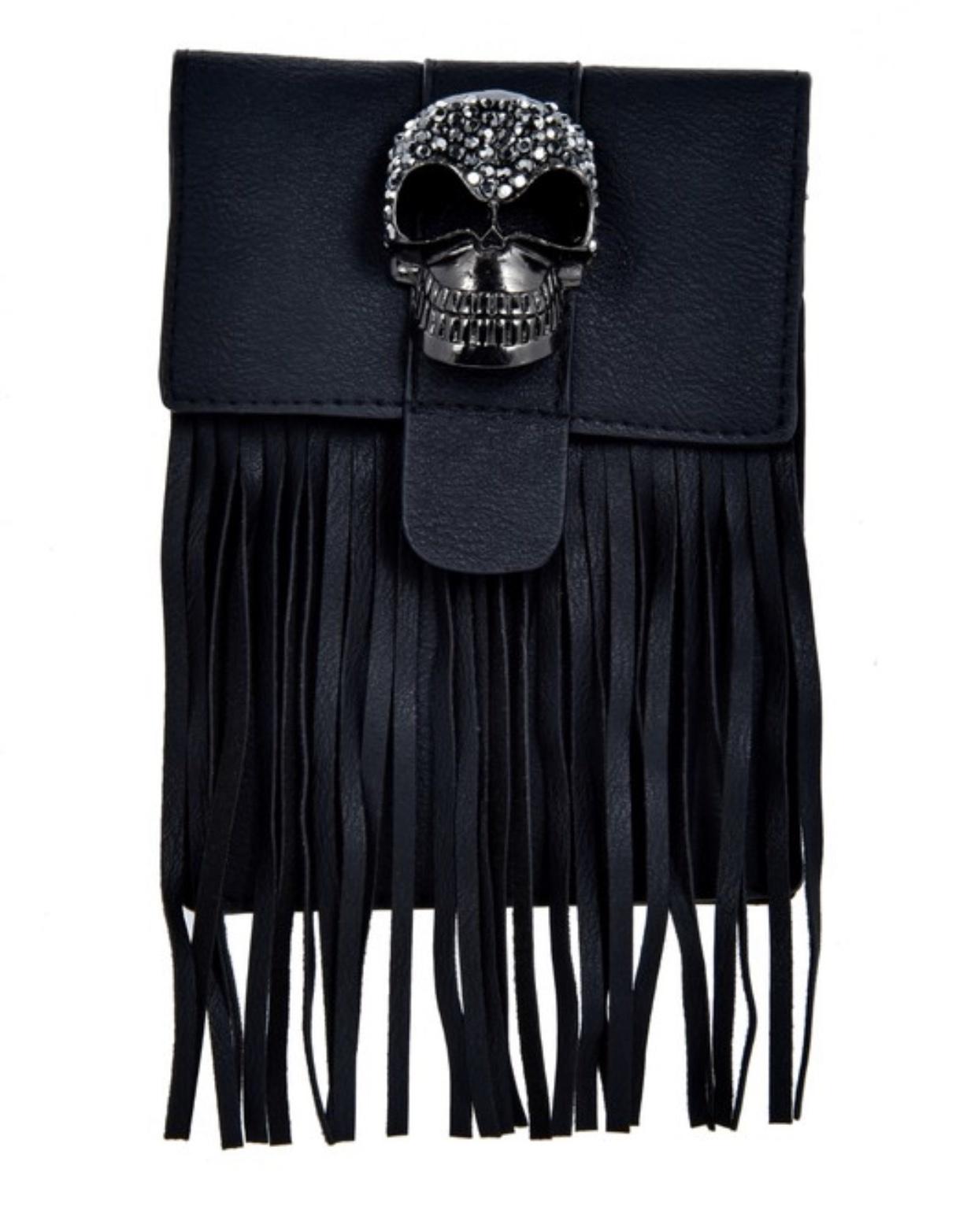 ole Rhinestone Skull Fringe Bag
