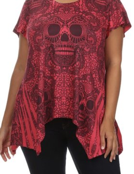 Poliana Plus Skull Asymmetric Hem Top
