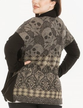 Poliana Plus Skull Draped Cardigan