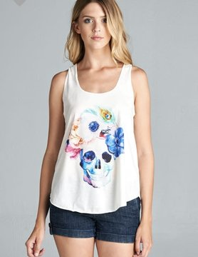 LA Soul Feather/Flower Skull Tank