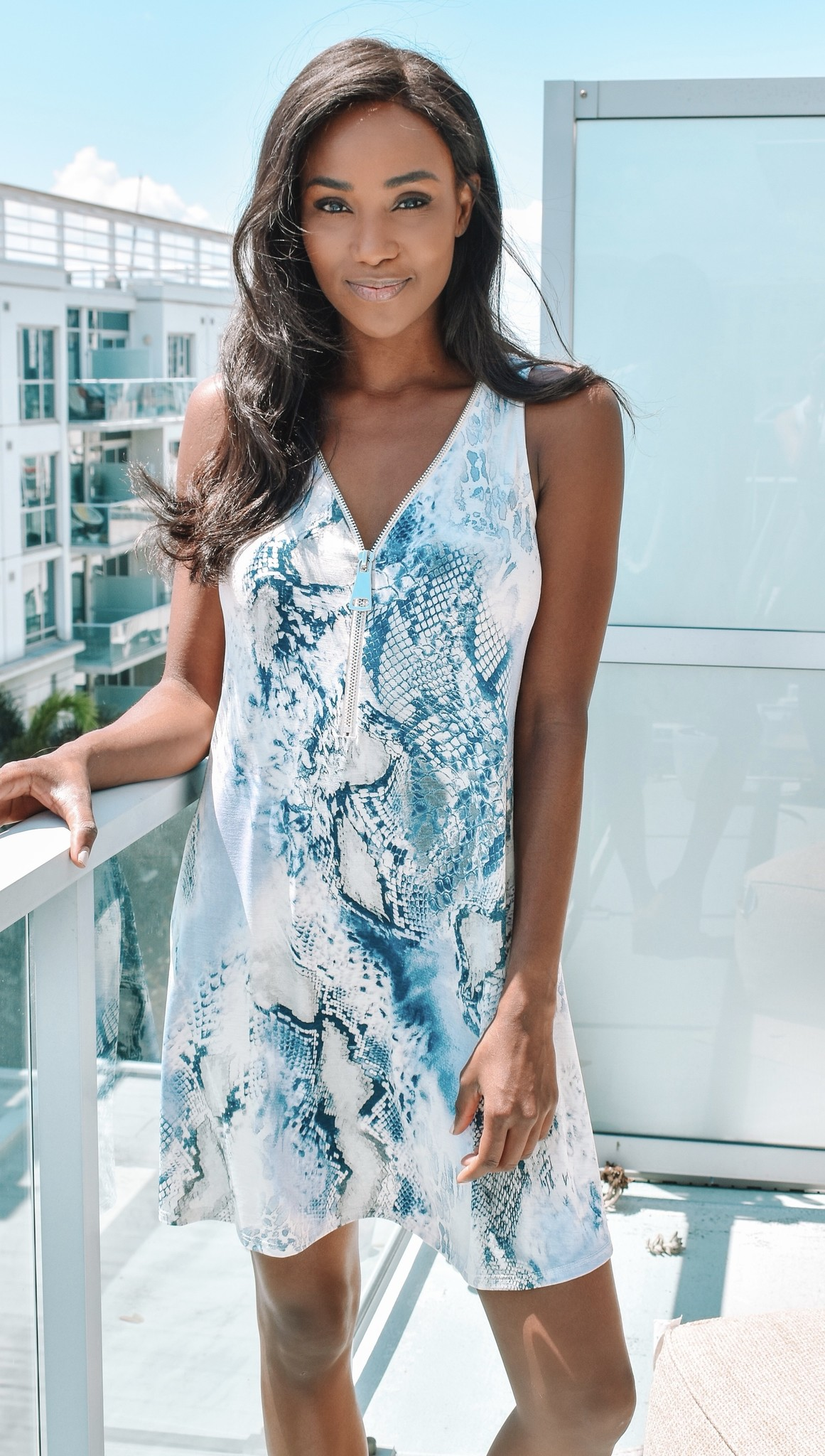 Ariella Arabella Snake Print Dress