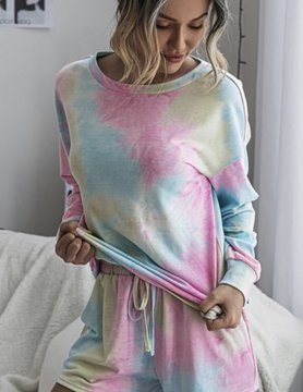 Rainbow Tie Dye Shorts Set