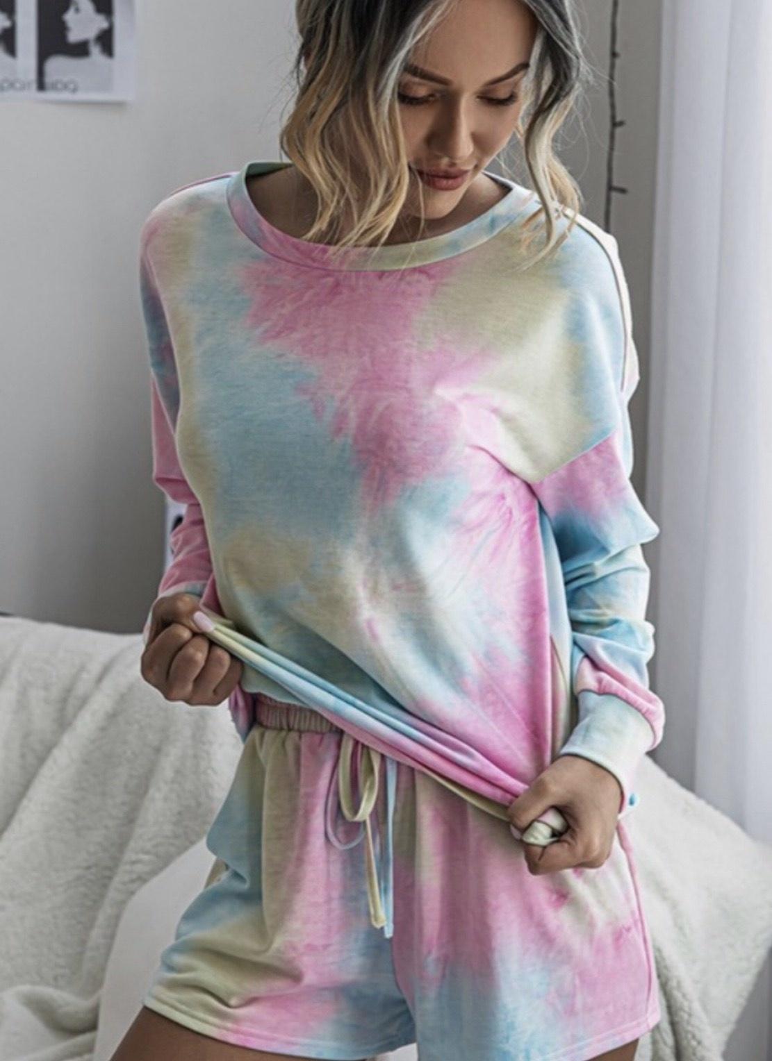 Rainbow Tie Dye Shorts Set