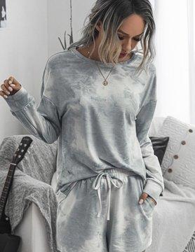 Gray Tie Dye Shorts Set