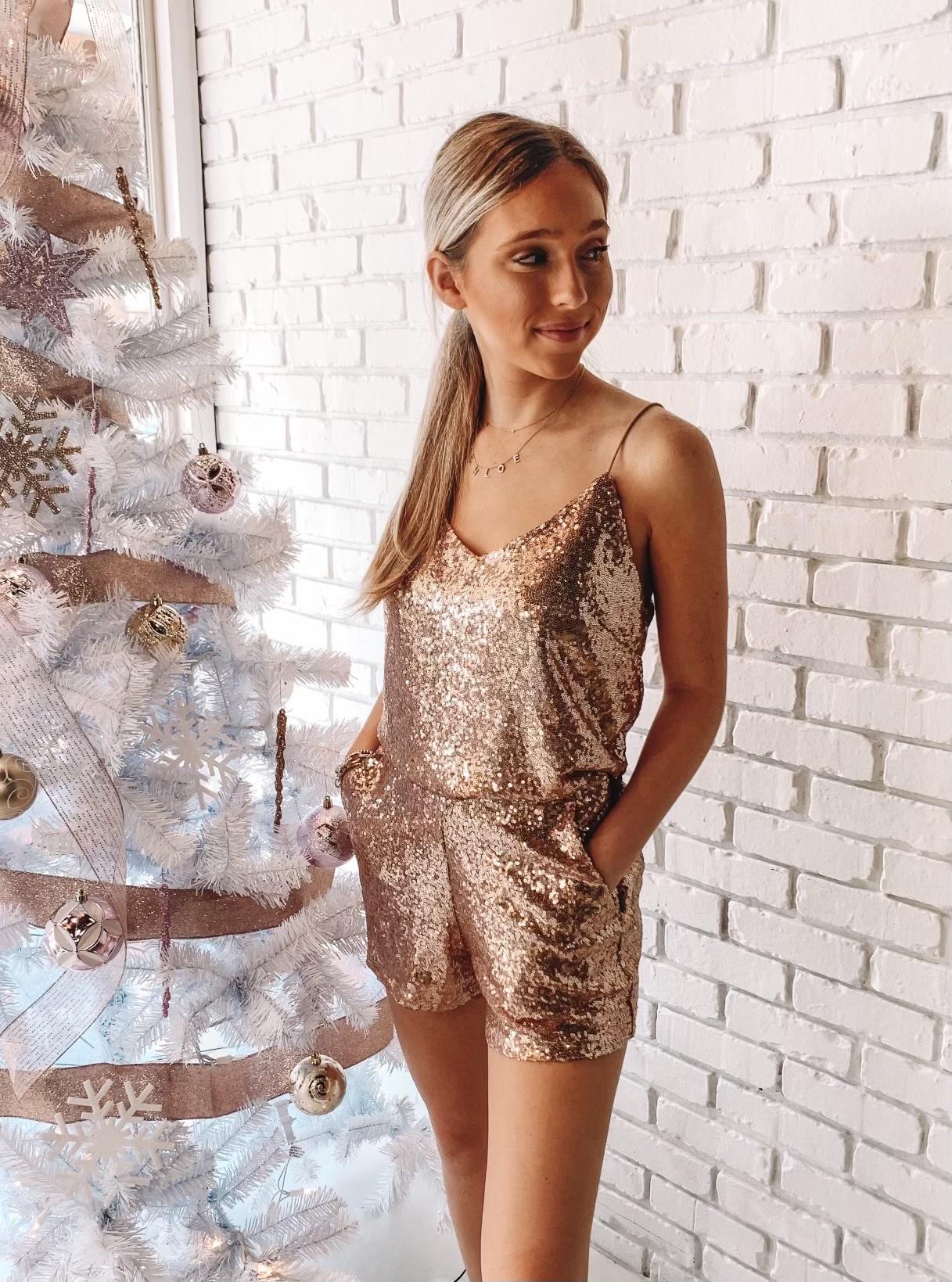 Gabriella Rose Gold Sequin Shorts