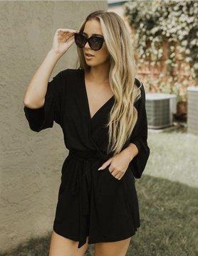 Veronica M VM Black Kimono Romper