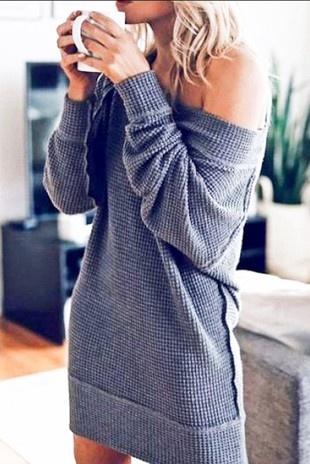 Grey Waffle Midi Dress