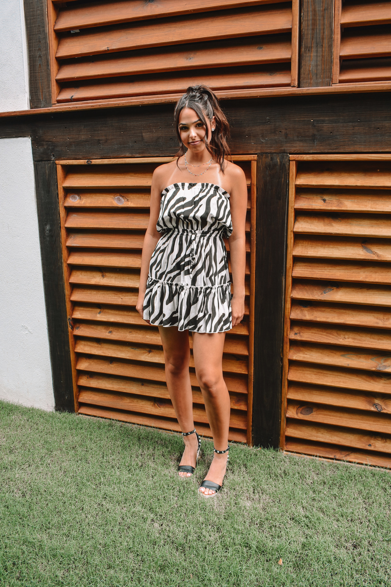 Elan Sadie Black Jungle Print Strapless Dress