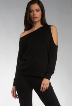 Elan Elan Black One Cold Shoulder Sweatshirt