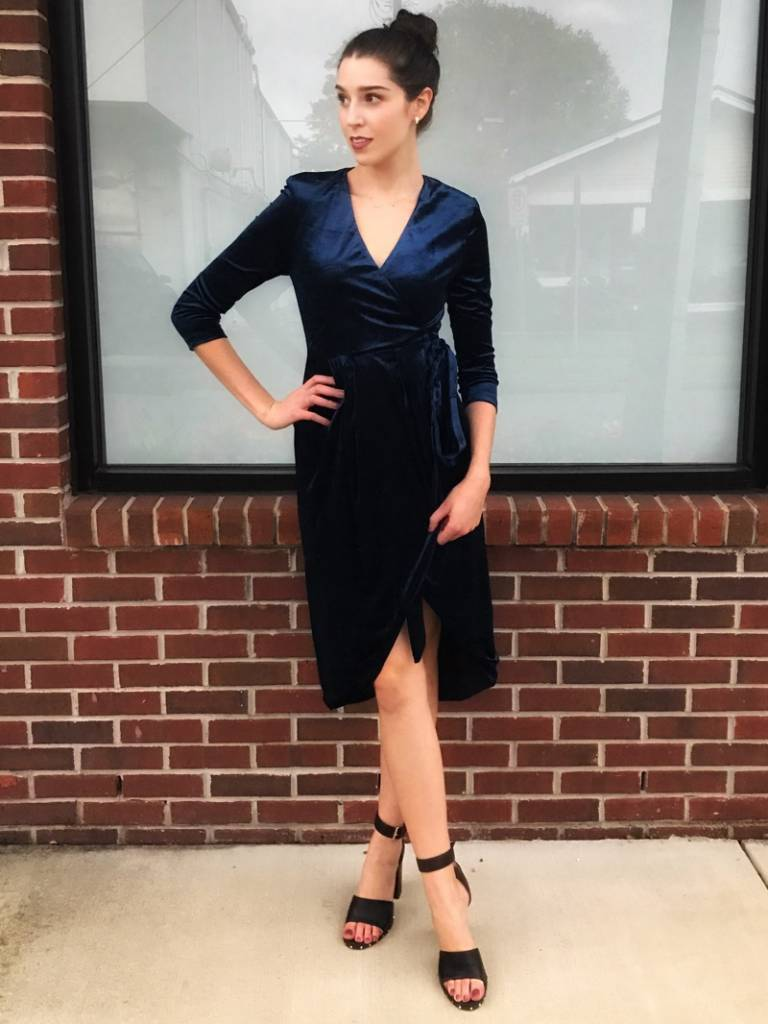 Dance & Marvel Navy Dream Velvet Dress