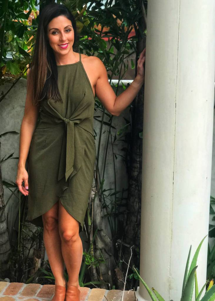 Entro Olive Waist Knot Dress