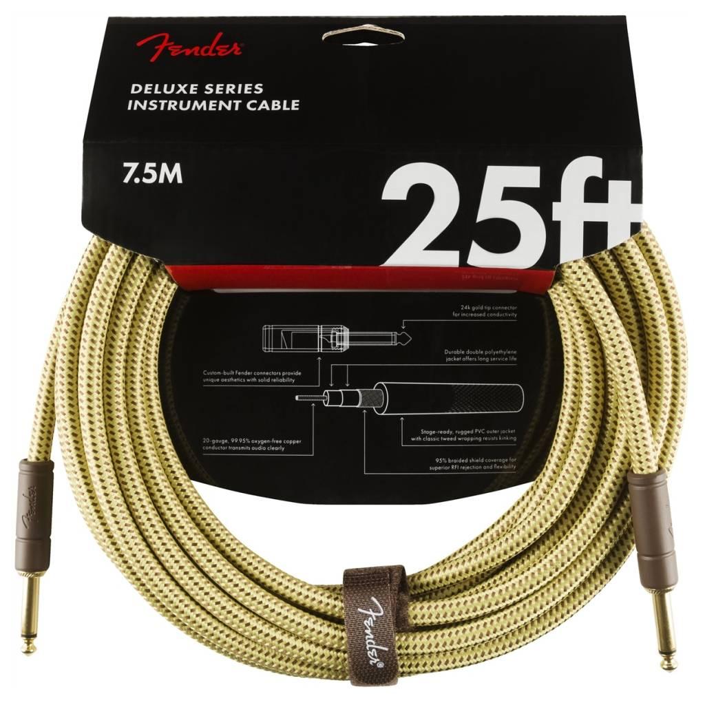 Fender NEW Fender Deluxe Series Instrument Cable (STR/STR 25 FT) - Tweed