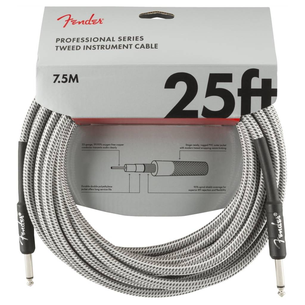 Fender NEW Fender Professional Series Instrument Cable (STR/STR 25 FT) - White Tweed