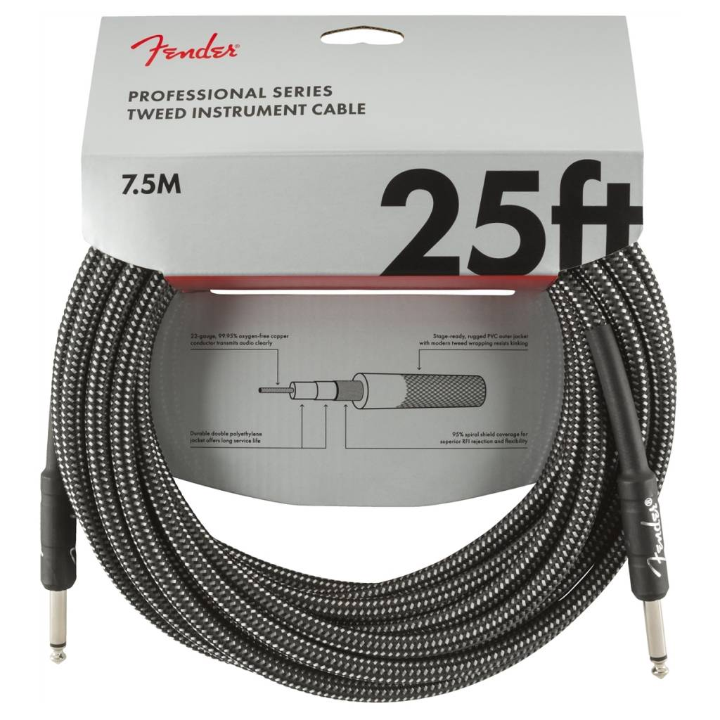 Fender NEW Fender Professional Series Cable - 25' Straight/Straight - Gray Tweed
