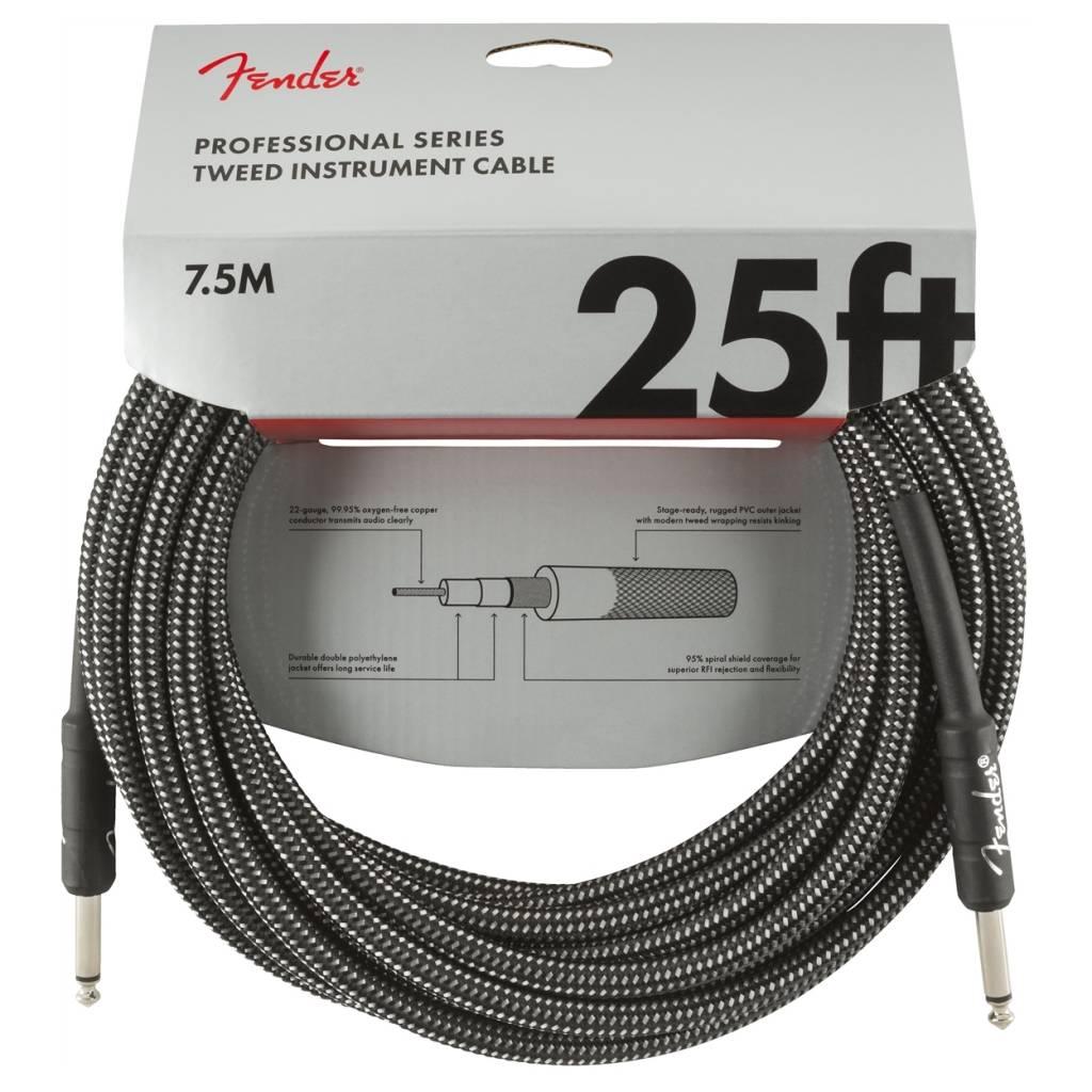Fender NEW Fender Professional Series Instrument Cable (STR/STR 25 FT) - Gray Tweed