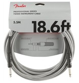 Fender NEW Fender Professional Series Instrument Cable (STR/STR 18.6 FT) - White Tweed