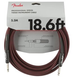 Fender NEW Fender Professional Series Instrument Cable (STR/STR 18.6 FT) - Red Tweed