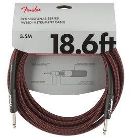 Fender NEW Fender Professional Series Instrument Cable (STR/STR 18.6 FT) - Red Tweed
