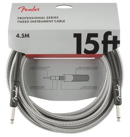 Fender NEW Fender Professional Series Cable - 15' Straight/Straight - White Tweed