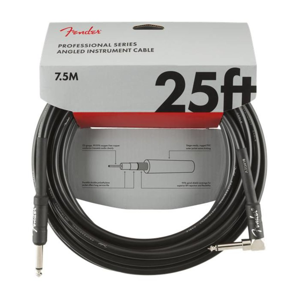 Fender NEW Fender Professional Series Cable - 25' - Straight/Angle - Black