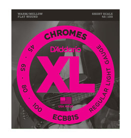 D'Addario NEW D'Addario ECB81S Chromes Flatwound Short Scale Bass Strings - Light - .045-.105