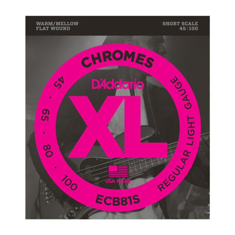 D'Addario NEW D'Addario ECB81S Chromes Flatwound Short Scale Bass Strings - Light - .045-.105