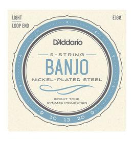 D'Addario NEW D'Addario EJ60 Nickel Plated Banjo Strings - Light - .009-.020