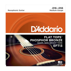 D'Addario NEW D'Addario EFT13 Flat Tops Phosphor Bronze Resonator Strings -  Medium - .016-.056