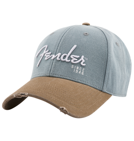 Fender NEW Fender Spaghetti Logo Washed Snapback - Grey & Brown