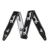 """Fender NEW Fender WeighLess 2"""" Running Logo Strap - Black/White"""