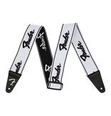 """Fender NEW Fender WeighLess 2"""" Running Logo Strap - White/Black"""