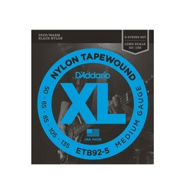 D'Addario NEW D'Addario ETB92-5 Black Tapewound Bass Strings - Medium - .050-.135