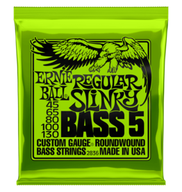 Ernie Ball NEW Ernie Ball 2836 Regular Slinky Nickel Wound Electric Bass Strings - .045-.130 5-String
