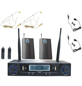 SHS NEW SHS Audio SWUH-502 Rechargeable UHF USB Dual Wireless Mic System