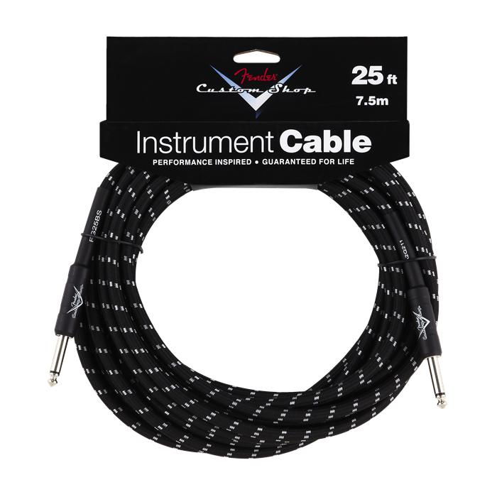 Fender NEW Fender Custom Shop Performance Series Cable - 25' - Black Tweed - Straight/Straight