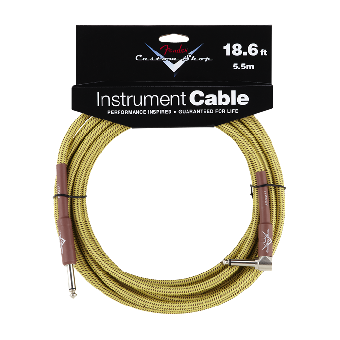 Fender NEW Fender Custom Shop Performance Series Cable - 18.6' - Tweed - Straight/Angle