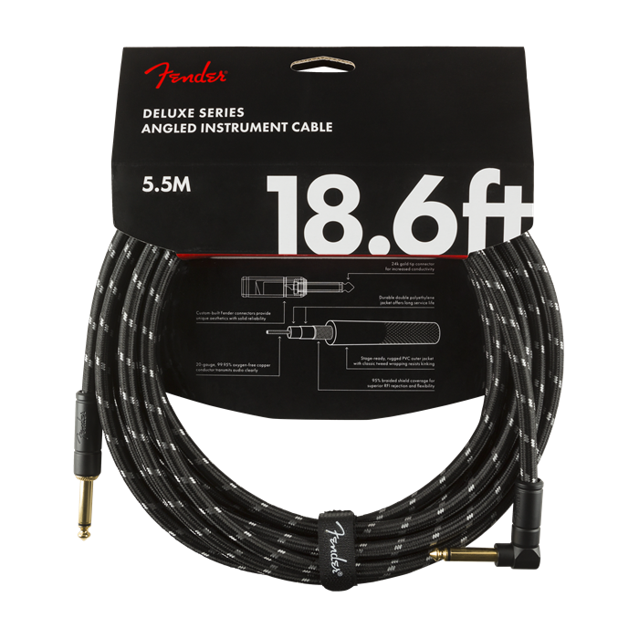 Fender NEW Fender Deluxe Series Cable - 18.6' - Black Tweed - Straight/Angle
