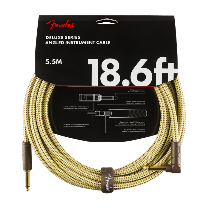 Fender NEW Fender Deluxe Series Cable - 18.6' - Tweed - Straight/Angle