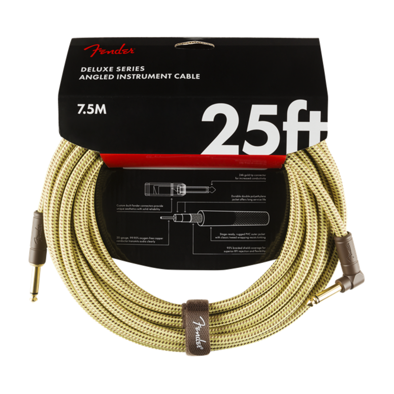 Fender NEW Fender Deluxe Series Cable - 25' - Tweed - Straight/Angle