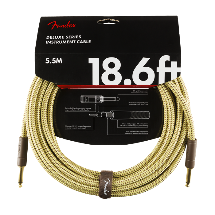 Fender NEW Fender Deluxe Series Cable - 18.6' - Straight/Straight - Tweed