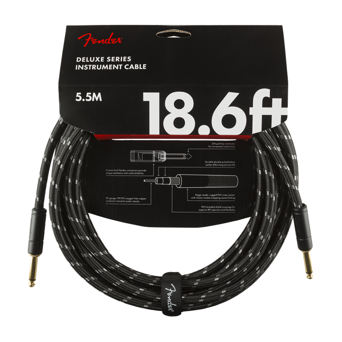 Fender NEW Fender Deluxe Series Cable - 18.6' - Black Tweed - Straight/Straight